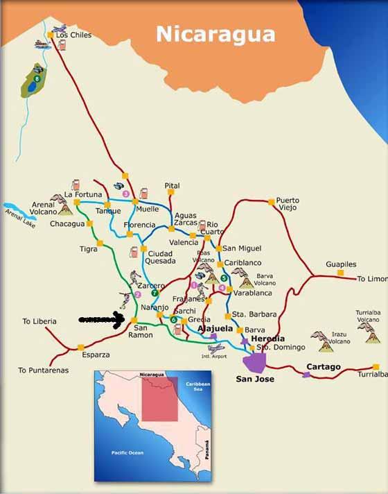 Detaillierte Karte von Costa Rica