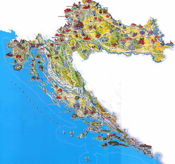 Detailed map of Croatia