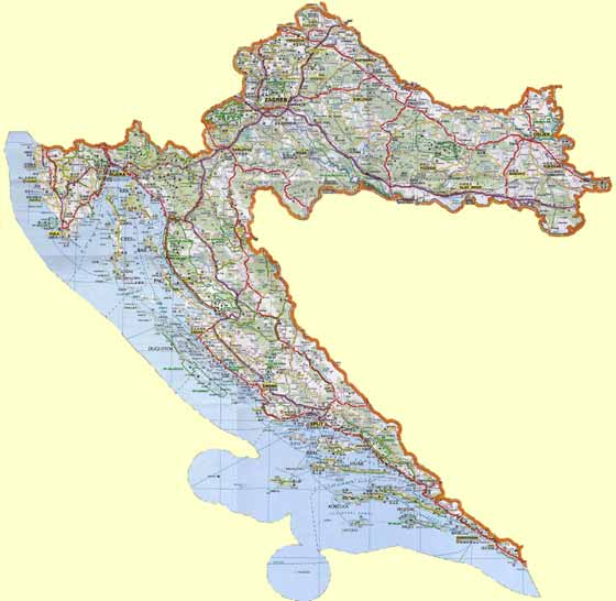 Large map of Croatia