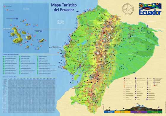 Detaillierte Karte von Ecuador