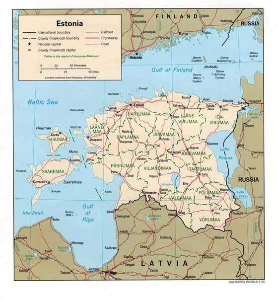 Detaillierte Karte von Estland