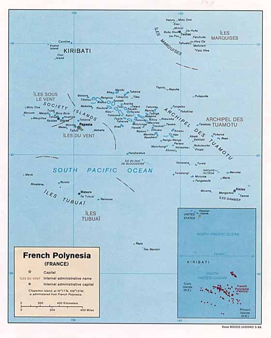Detailed map of French Polynesia