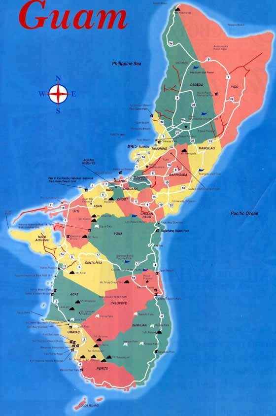 Detaillierte Karte von Guam