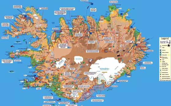 Detaillierte Karte von Island