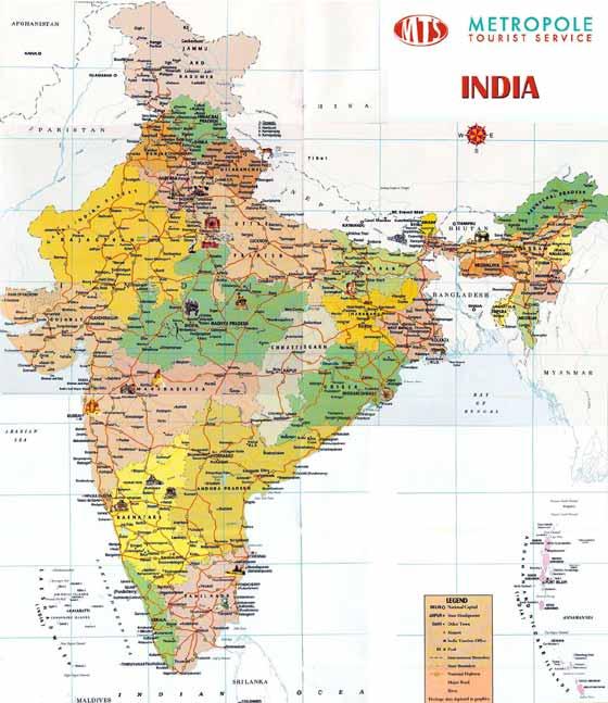 Detaillierte Karte von India