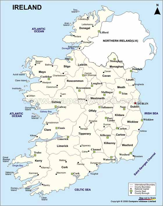 Detailed map of Ireland