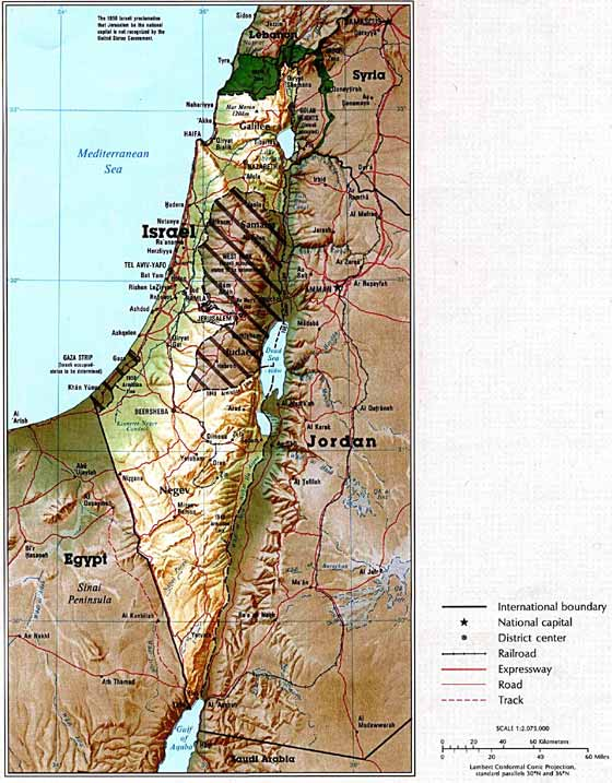 Detailed map of Israel