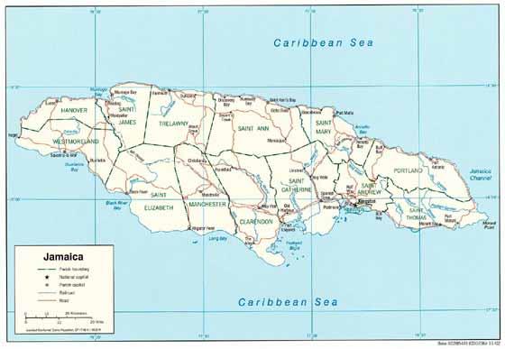 Detaillierte Karte von Jamaika