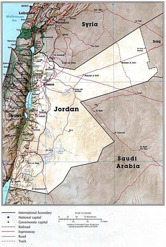 mapa del país de  Jordania