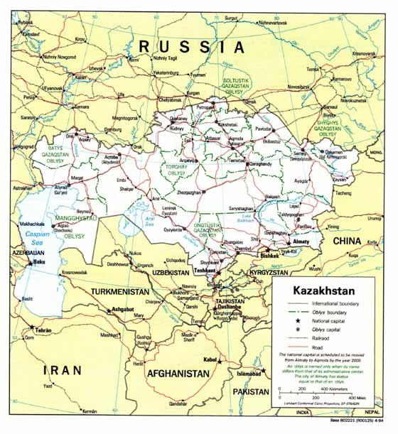 Große Karte von Kasachstan