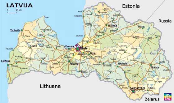 Крупномасштабная карта Латвии для распечатывания или скачки