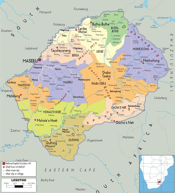 Large map of Lesotho