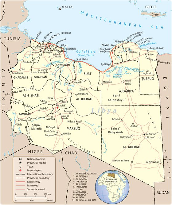 Detailed map of Libya