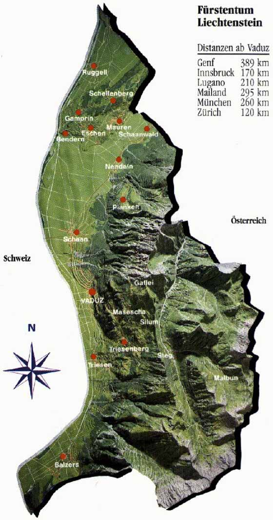 Detailed map of Liechtenstein