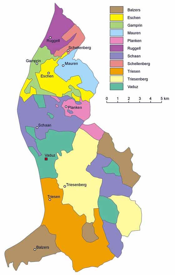 Große Karte von Liechtenstein