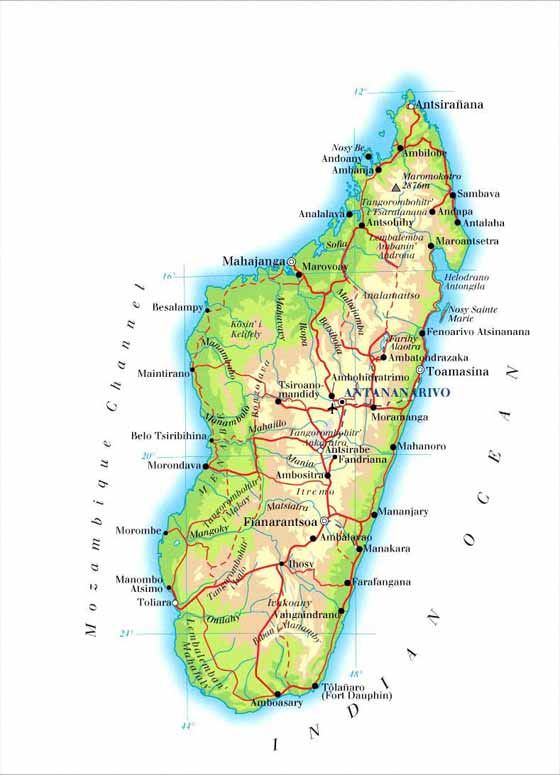 Detailed map  Madagascar