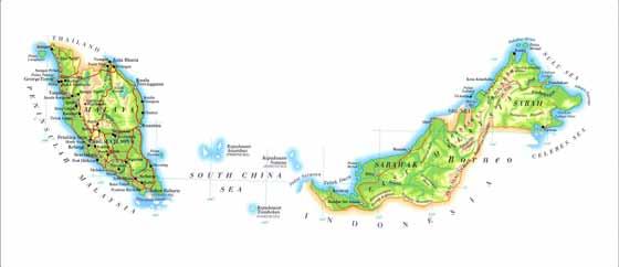 Detaillierte Karte von Malaysia