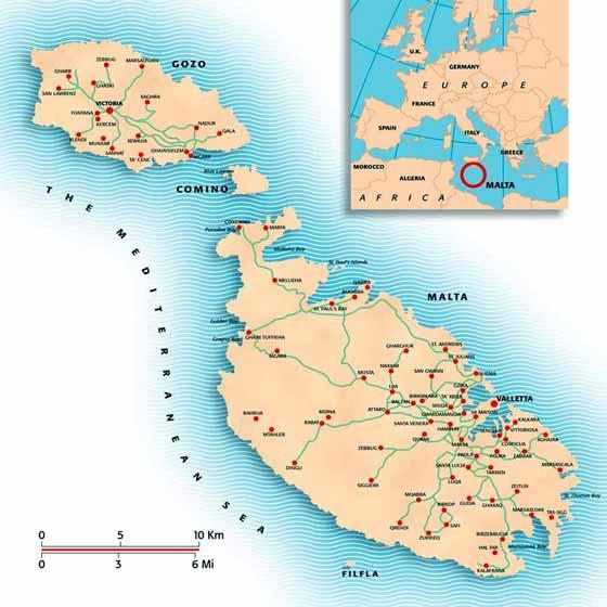 Detaillierte Karte von Malta