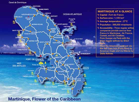 Detaillierte Karte von Martinique