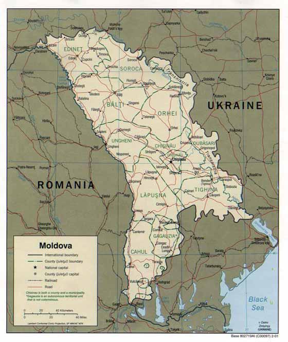 Große Karte von Moldawien