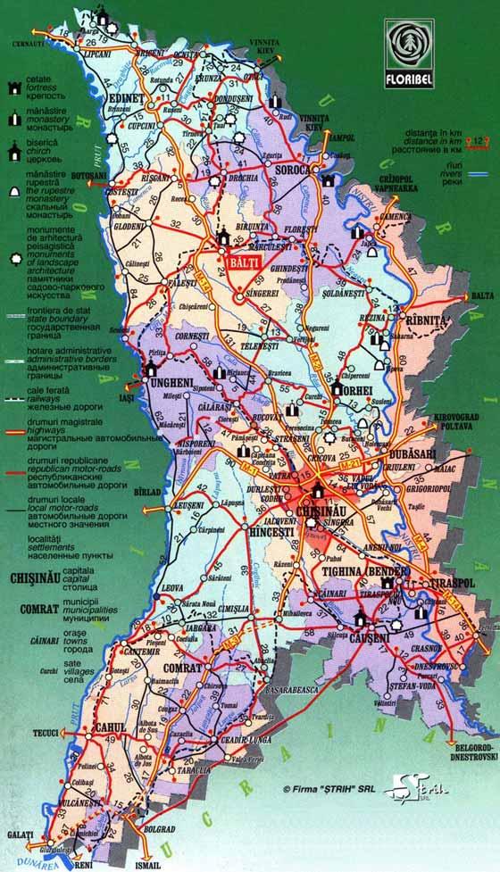 Detaillierte Karte von Moldawien