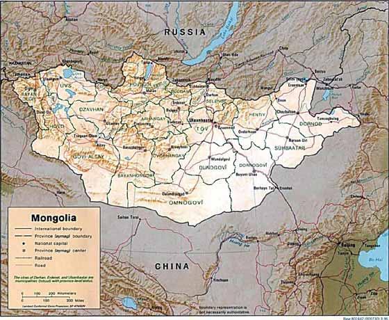 Detaillierte Karte von Mongolei