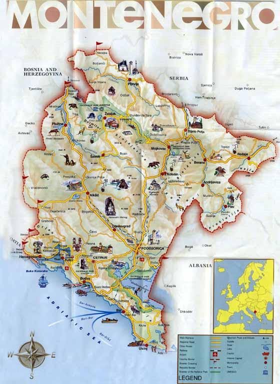 Große Karte von Montenegro