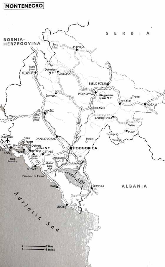 Detaillierte Karte von Montenegro