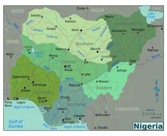 Detailed map of Nigeria