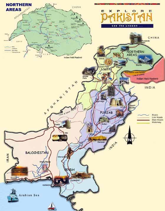 Detaillierte Karte von Pakistan