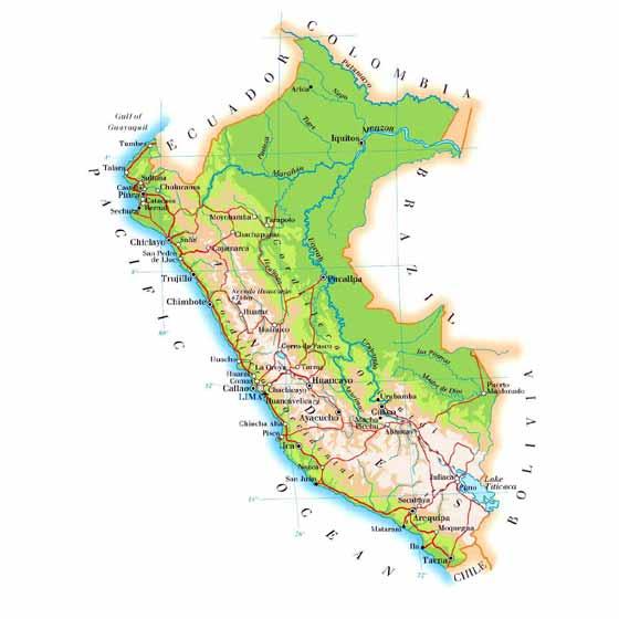 Detaillierte Karte von Peru
