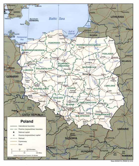Detaillierte Karte von Polen