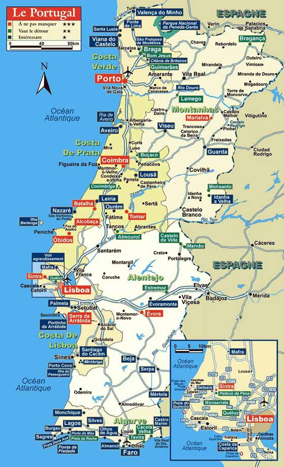 Große Karte von Portugal