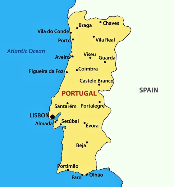 Detailed map of Portugal