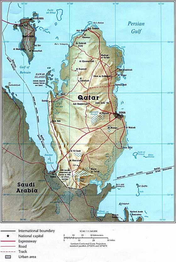 Detailed map of Qatar