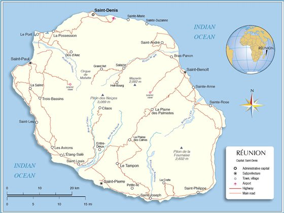 Large map of Reunion Island