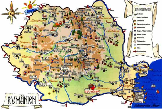Detailed map of Romania