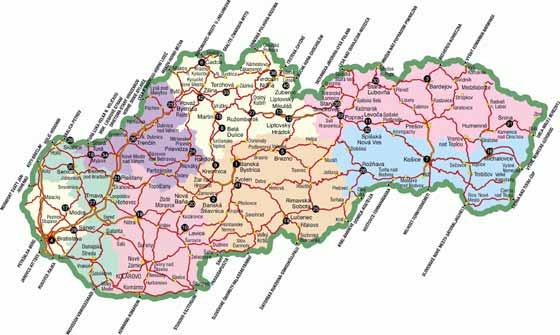 Крупномасштабная карта Словакии для распечатывания или скачки