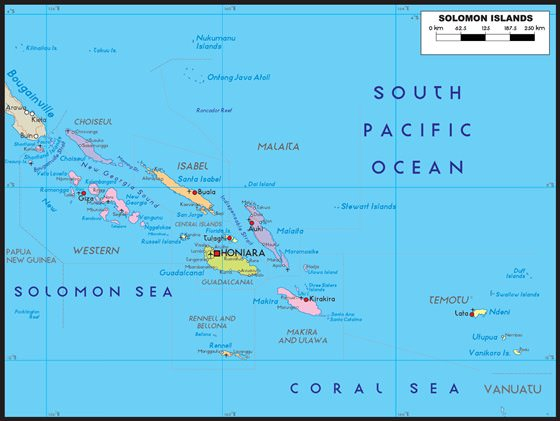 Detailed map of Solomon Islands