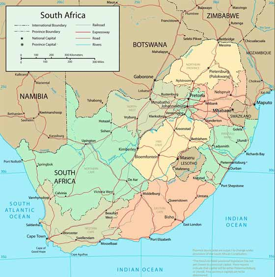 Large map of South Africa