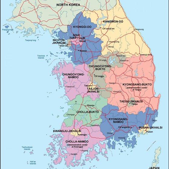 Large map of South Korea