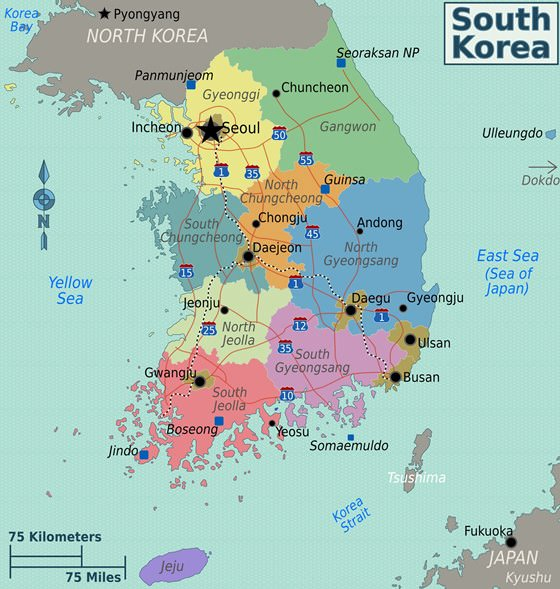 Detailed map of South Korea