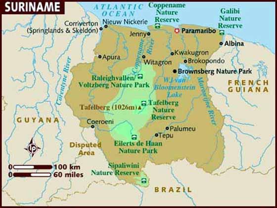 Detaillierte Karte von Suriname