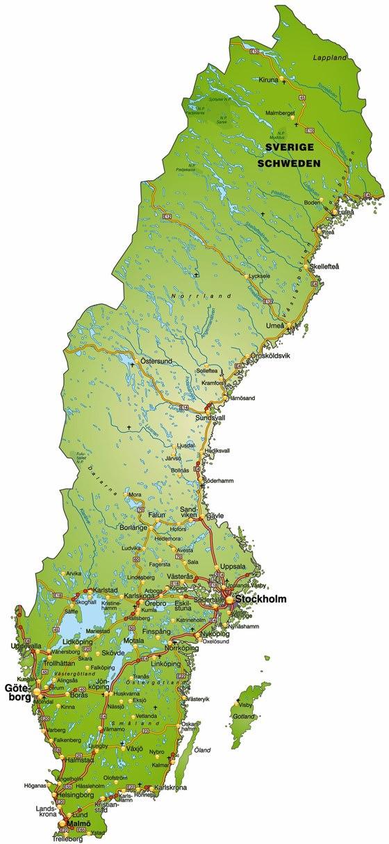 Detailed map of Sweden