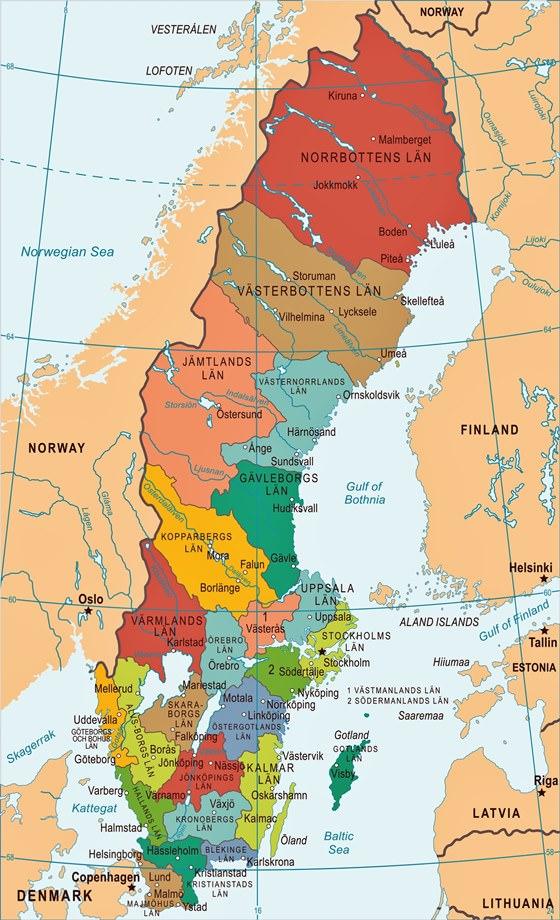 Large map of Sweden