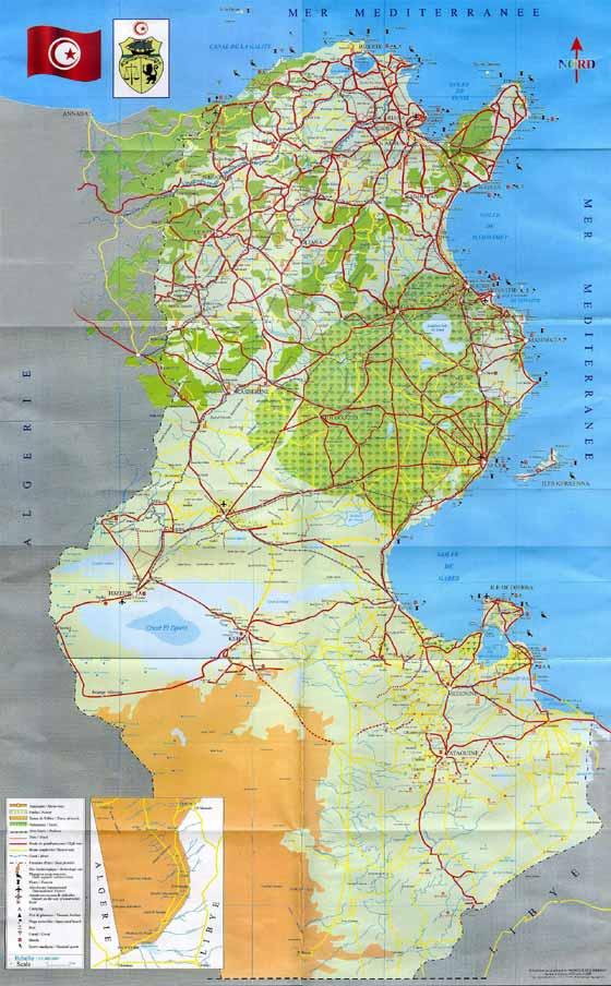 mapa del país de  Túnez