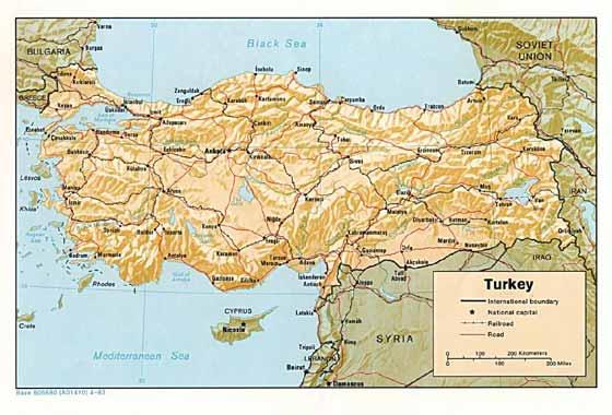mapa de Turquía