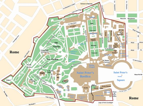 Detailed map of Vatican