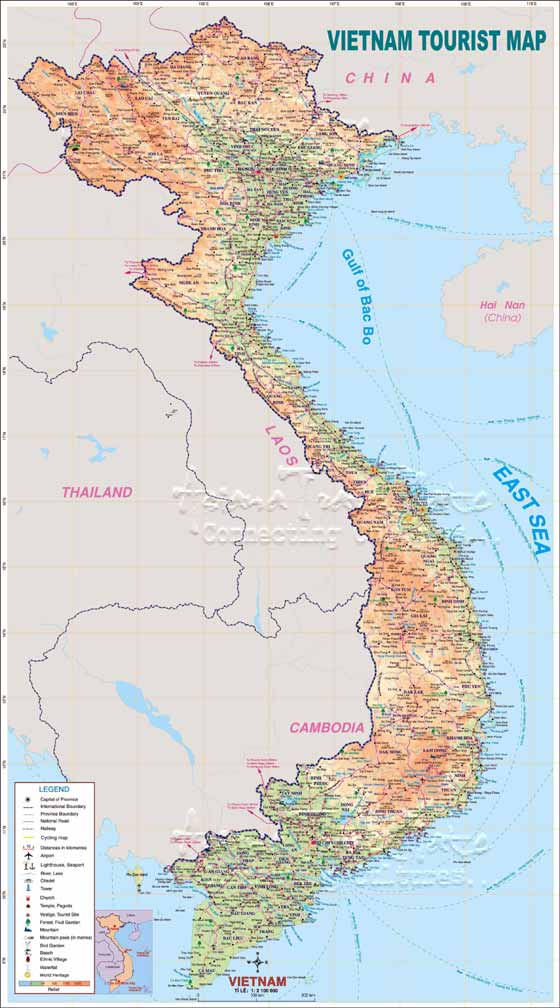 Detailed map of Vietnam