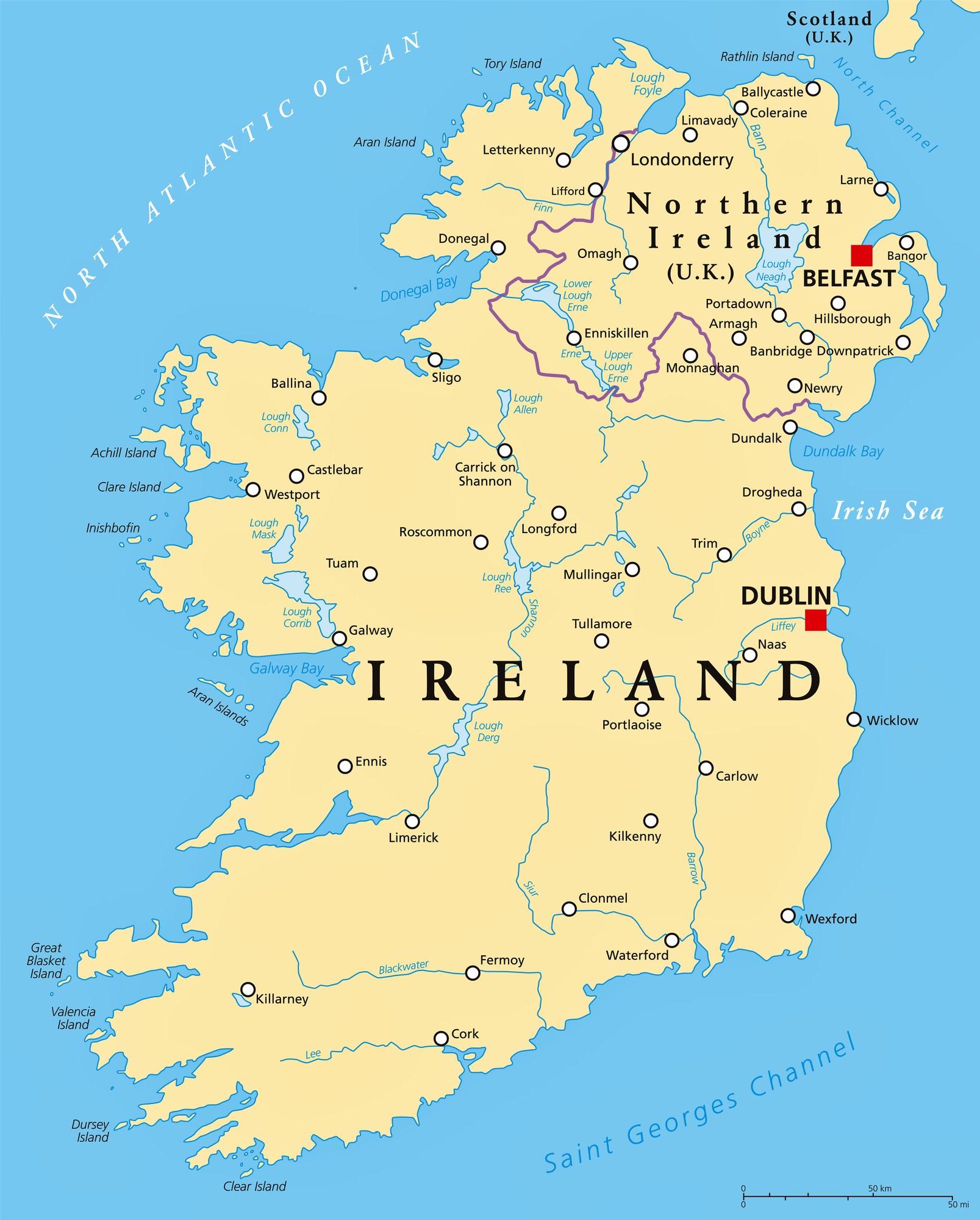irland karte städte Städtekarte von Irland   OrangeSmile.com